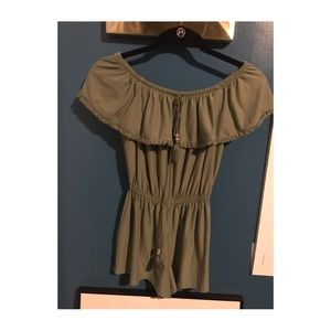 Olive green off the shoulder romper